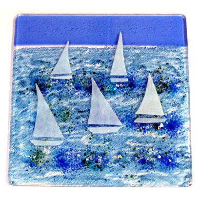 Glass coasters - sailing boat design
