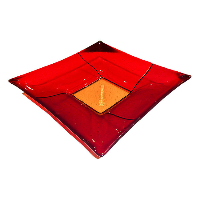Fused Glass Bowl in red and orange with gold leaf detail