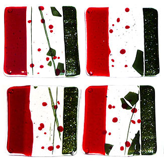 Abstract glass coasters in red and green design